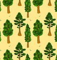 Sketch trees in vintage style vector image vector image