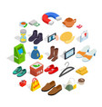 women clothing icons set isometric style vector image