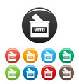 wood vote box icons set color vector image