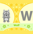 the english alphabet with wolf vector image