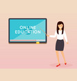 online education concept teacher with tablet vector image
