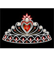 a female diadem with a heart and precious stones vector image vector image