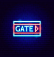 airport gate neon sign vector image