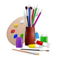 artist palette with art tools and supplies vector image