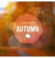 Autumn fall blurred background with maple leaf and vector image