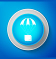 box flying on parachute icon on blue background vector image vector image