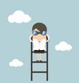 businesswoman on a ladder using binoculars vector image vector image