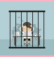 businesswoman working in the prison vector image