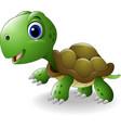 cartoon happy turtle vector image vector image