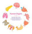 cartoon internal organs funny emotions banner card vector image
