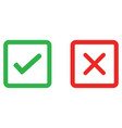 check mark and wrong mark line icon vector image vector image