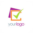 check mark business logo vector image vector image