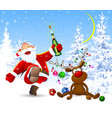 cheerful santa claus and a deer in the winter vector image