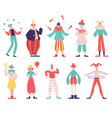 clowns characters circus funny clowns with red vector image