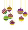 colorfut green and purple christmas baubles set vector image