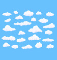 different shape cartoon white clouds on blue vector image