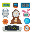 digital and analogue table clocks collection old vector image