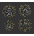Flat alcohol monograms gold vector image vector image