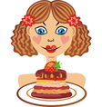 Girl with cake vector image vector image