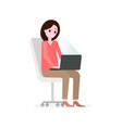 girl working with laptop on office chair looking vector image
