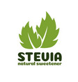 green stevia leaves label vector image vector image