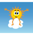 happy sun over a cloud vector image vector image