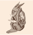 hare with a tablet vector image