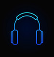 headphones outline blue icon or design vector image vector image