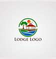 lodge logo with circle wave beautiful sun flying vector image vector image