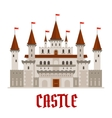 Medieval castle building with red flags vector image