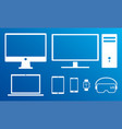 modern digital screens white icons isolated set vector image