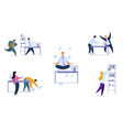 office daily routine set vector image vector image