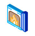 open fire in stove isometric icon vector image vector image
