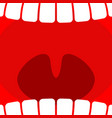 open mouth teeth and throat background larynx vector image vector image