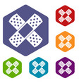 patch icons set hexagon vector image