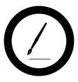 pen icon black color in circle vector image vector image