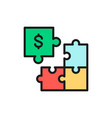 puzzle money investment flat color line icon vector image