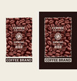 set labels for coffee beans with barcode vector image