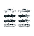 set of retro car silhouettes vector image vector image