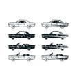 set retro car silhouettes vector image