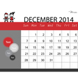 Simple 2014 calendar December vector image