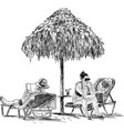 sketch of the people on the beach vector image vector image