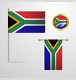 south africa waving flag design with badge vector image vector image