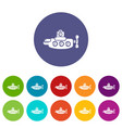 submarine nautical icons set color vector image vector image