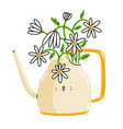 watering can cartoon character with chamomile vector image