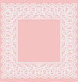 white lace square frame on a pink background vector image vector image