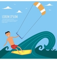 Male Kitesurfer Riding on Waves in the Sea vector image
