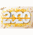 2020 happy new year background with gold ribbon vector image vector image