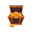antique wooden chest filled with shiny golden vector image