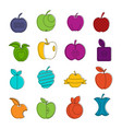 apple icons doodle set vector image vector image